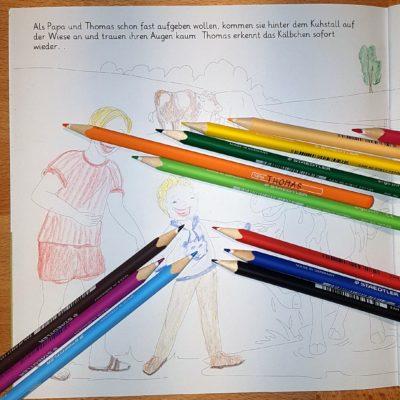Familie Bunt - Bild mit Stiften